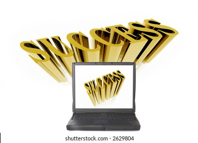 Laptop screen with success logo. Ambition, competition concept. White background.