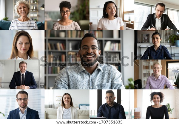 Laptop screen webcam view different ethnicity and age people engaged in group videocall. Video conference lead by african businessman leader. Modern technology, easy convenient on-line meeting concept