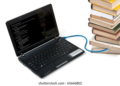 Laptop with shakespeare text on screen connected to books with cable - on-line library concept