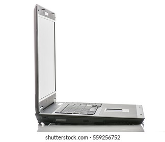 laptop side view isolated on white background