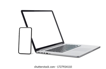 Laptop and smart phone with blank screen isolated on white background with clipping path.