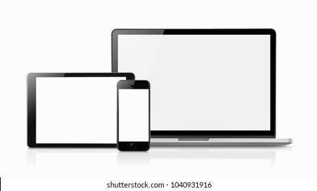 Laptop smartphone and tablet mockup with blank screen isolated on white background, Concept mockup. Copyspace for text.
