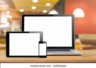 Laptop smartphone and tablet mockup with blank screen on table, Concept mockup.