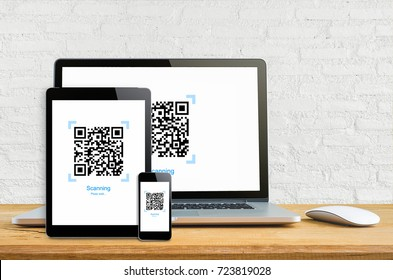 Laptop smartphone and tablet mockup with Realistic QR code on white wall, gadget and bar code information.