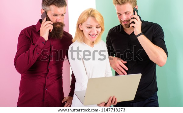 Laptop or smartphone you always online. Modern people live in both virtual and real realities. Men and woman enjoy virtual reality and online communication. Modern technologies make our life easier.