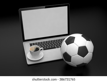 laptop and soccer football ball. on line soccer betting concept.