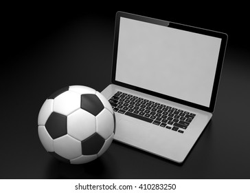 laptop and soccer football ball. on line soccer betting concept. 3d rendering.