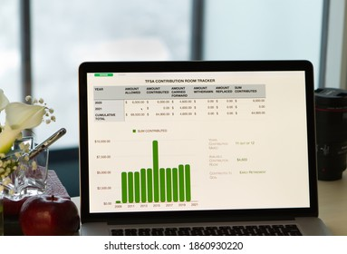 Laptop with spreadsheet open to Savings file, TFSA Contribution Tracker Document on a desk, with bar graph. Blurred window in background. White flowers, apple, and pen in glass container to the left.