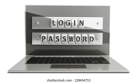 Laptop with steel security password  isolated on white background. High resolution  3D