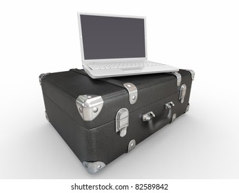 Laptop and suitcase on white isolated background. 3d