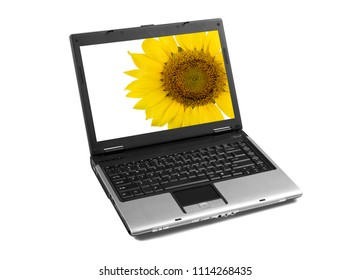Laptop with sunflower