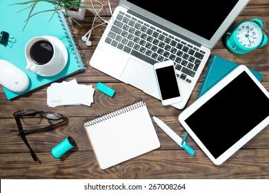 Laptop, tablet, app.