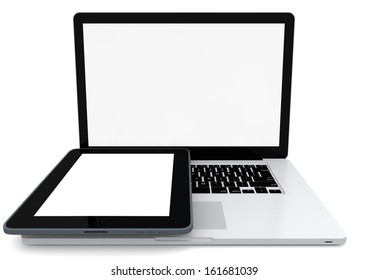 a laptop and a tablet with clear display