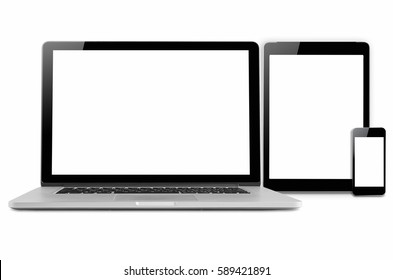 Laptop, tablet and mobile phone. Mock up image of electronic gadgets isolated on white background.