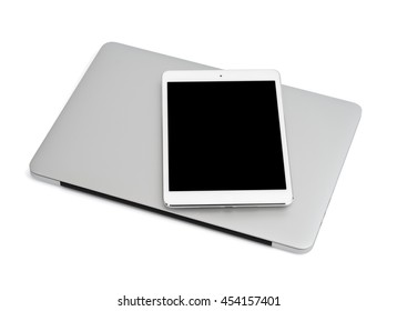 Laptop and tablet on white background isolated