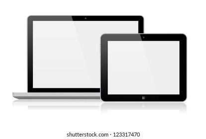 Laptop and tablet pc computer with a blank screen. Isolated on a white. 3d image