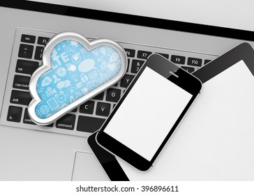 laptop, tablet pc, smart phone and cloud. 3D rendering.