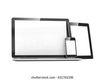 laptop, tablet, phone, on white. 3d rendering.