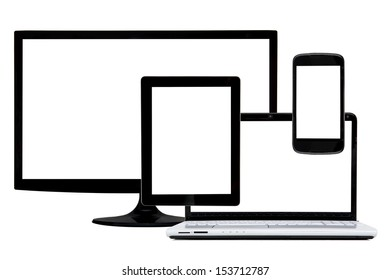 Laptop, tablet, Tv and phone isolated in white