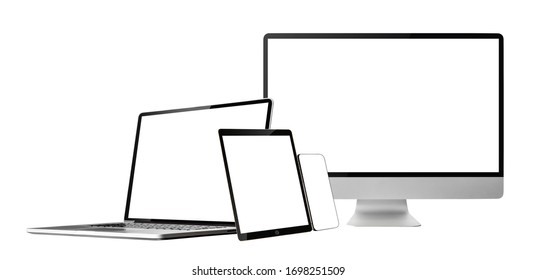 laptop ,tablet,phone and computer display with blank screen isolated with clipping path on white background.