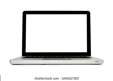 Laptop is technology modern new style for the success with empty blank white screen for ideas text. Isolated object item view. Office and the business laptop(pc) on white background. Clipping path.