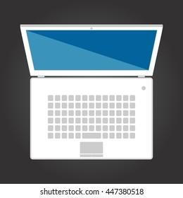 Laptop top view. iilustration