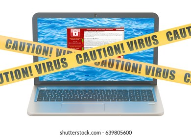 Laptop with virus, 3D rendering isolated on the white background