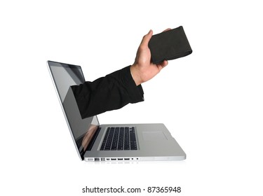 Laptop with wallet on screen
