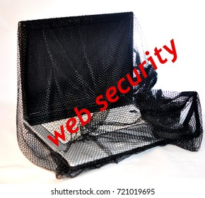 Laptop in web with gun internet data password security protection