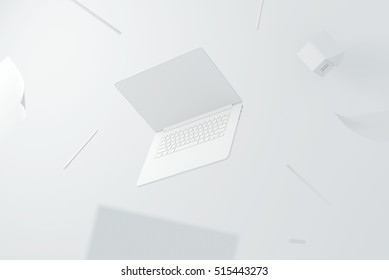 laptop white house pencil design creation paper workspace desktop