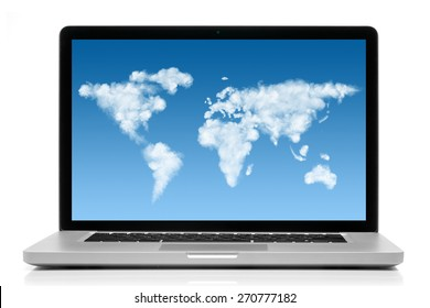Laptop with world map made of clouds on screen isolated on white background