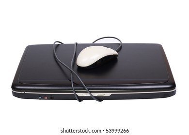 Laptop wrapped in a mouse. Isolated object on a white background