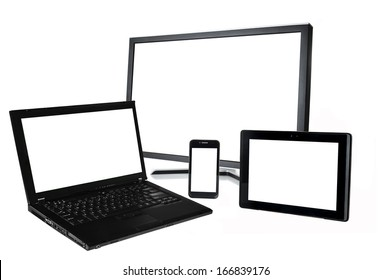 laptop,monitor,smart phone,tablet on white background