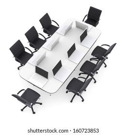 Laptops on the office round table and chairs. Isolated render on a white background