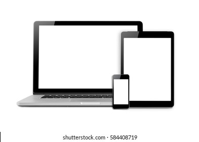 Laptops, tablets and mobile phones. Mock up image of electronic gadgets isolated on white background.