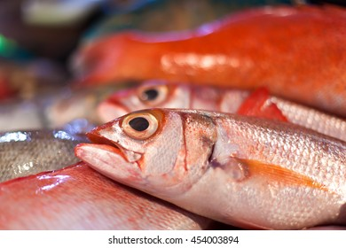 Lapu-lapu, red snapper and tuna, seafood on asian market