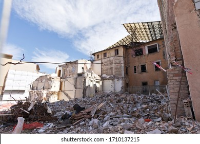 L'Aquila, Italy, 2019: in the city center there are still ruins of houses abandoned after the 2009 earthquake
