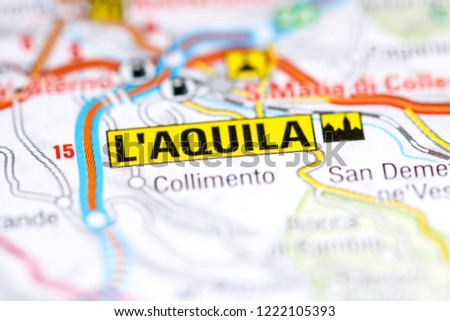 Aquila Italy Map.L Aquila Italy On Map Stock Photo Edit Now 1222105393 Shutterstock
