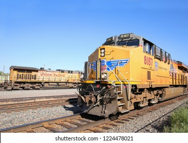 LARAMIE, WYOMING - AUGUST:  Union Pacific 8187 pulls into the Laramie Depot.  The Union Pacific is a  freight hauling railroad that operates 8,500 locomotives in 23 states as seen on August 29, 2018.
