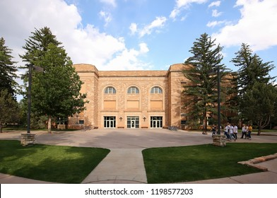 LARAMIE, WYOMING, USA - AUGUST:  Half Acre Gym and Wellness Center built in 1925 and located on the campus of the University of Wyoming as seen on August 28, 2018.