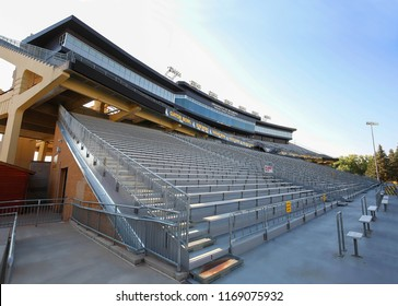 LARAMIE, WYOMING, USA - AUGUST:  Looking up at the bleachers at the War Memorial Football Stadium, home of the Wyoming Cowboys on the campus of the University of Wyoming, as seen on August 28, 2018.