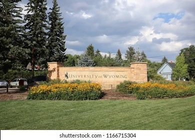 LARAMIE, WYOMING, USA - AUGUST:  University of Wyoming campus entrance sign as as seen on August 28, 2018.