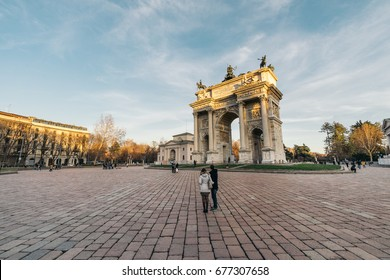 L'Arco della Pace (the Arch of Peace) at sunset in Milan, Italy