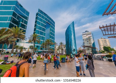 Larcomar is an exclusive shopping center located in the district of Miraflores in Lima, Peru. February 17, 2019 Lima Peru