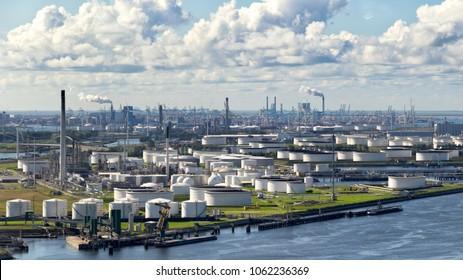 Larg oil refinery plant and storage silo area in the Port of Rotterdam.