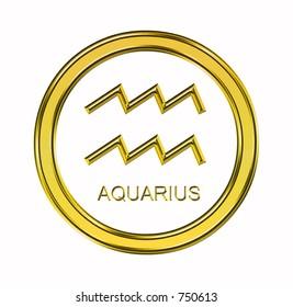 Large 3D gold aquarius symbol on pure white background