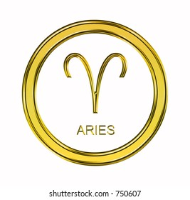 Large 3D gold aries symbol on pure white background