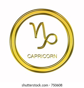 Large 3D gold capricorn symbol on pure white background