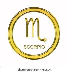 Large 3D gold scorpio symbol on pure white background