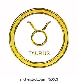 Large 3D gold taurus symbol on pure white background